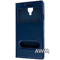 Чехол книжка с окошком для Samsung Galaxy S4 (I9500) тёмно-синий