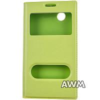 Чехол книжка для Lenovo A369 с окошком зеленая
