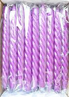 Свеча фиолетовая крученая декоративная (1шт)