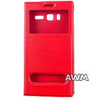 Чехол книжка с окошком для Lenovo A916 красный