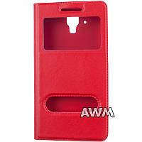 Чехол книжка с окошком для Lenovo A358T / A536 красный
