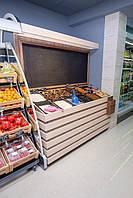Стеллаж наклонный с меловой доской для расфасовки и демонстрации сыпучих продуктов и сухофруктов на 10 ячеек
