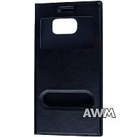 Чехол книжка с окошком для Samsung Galaxy S6 (G920F) чёрный