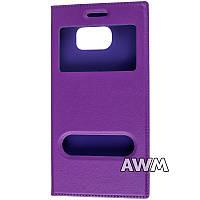 Чехол книжка с окошком для Samsung Galaxy S6 (G920F) фиолетовый