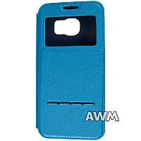 Чехол книжка с окошком для Samsung Galaxy S6 (G920F) голубой