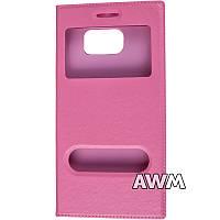 Чехол книжка с окошком для Samsung Galaxy S6 (G920F) розовый