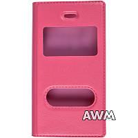 Чехол книжка с окошком для Apple iPhone 4/4S розовый