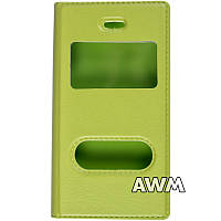 Чехол книжка с окошком для Apple iPhone 4/4S зелёный