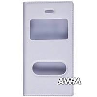 Чехол книжка для Apple iPhone 4/4S с окошком белая
