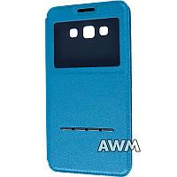 Чехол книжка с окошком для Samsung Galaxy A7 (A700H) голубой