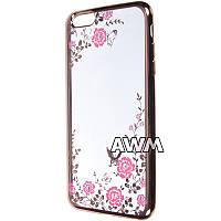 Чехол-накладка Flowers для Apple iPhone 6 plus / 6S plus прозрачный