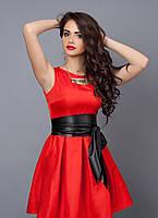 """Модное молодежное платье декорировано поясом  - """"Камея"""" код 385, фото 1"""
