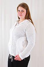 Красива оригінальна жіноча кофта з капюшоном, великі розміри., фото 2
