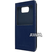 Чехол книжка с окошком design для Samsung Galaxy Note 5 (N920) тёмно-синий