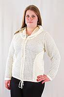 Красивая ажурная женская кофта с капюшоном, большие размеры.