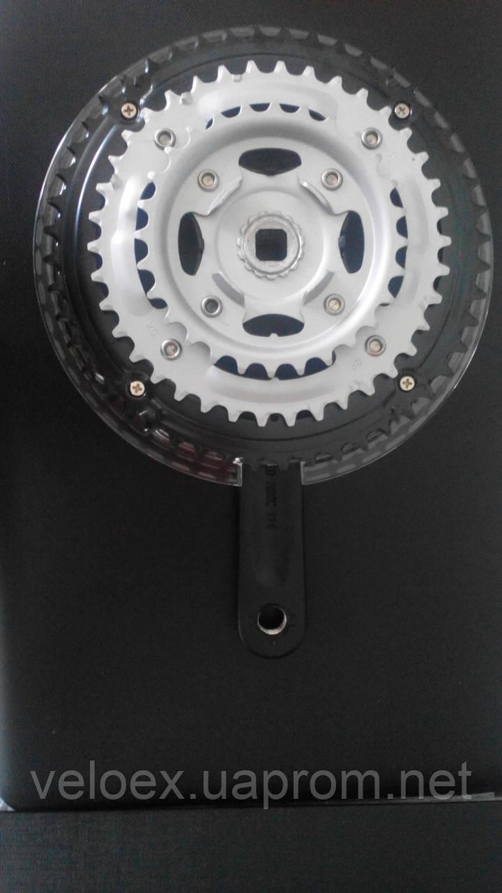 Шатуны Prowheel алюминевые черные 28/38/48Т, 170мм