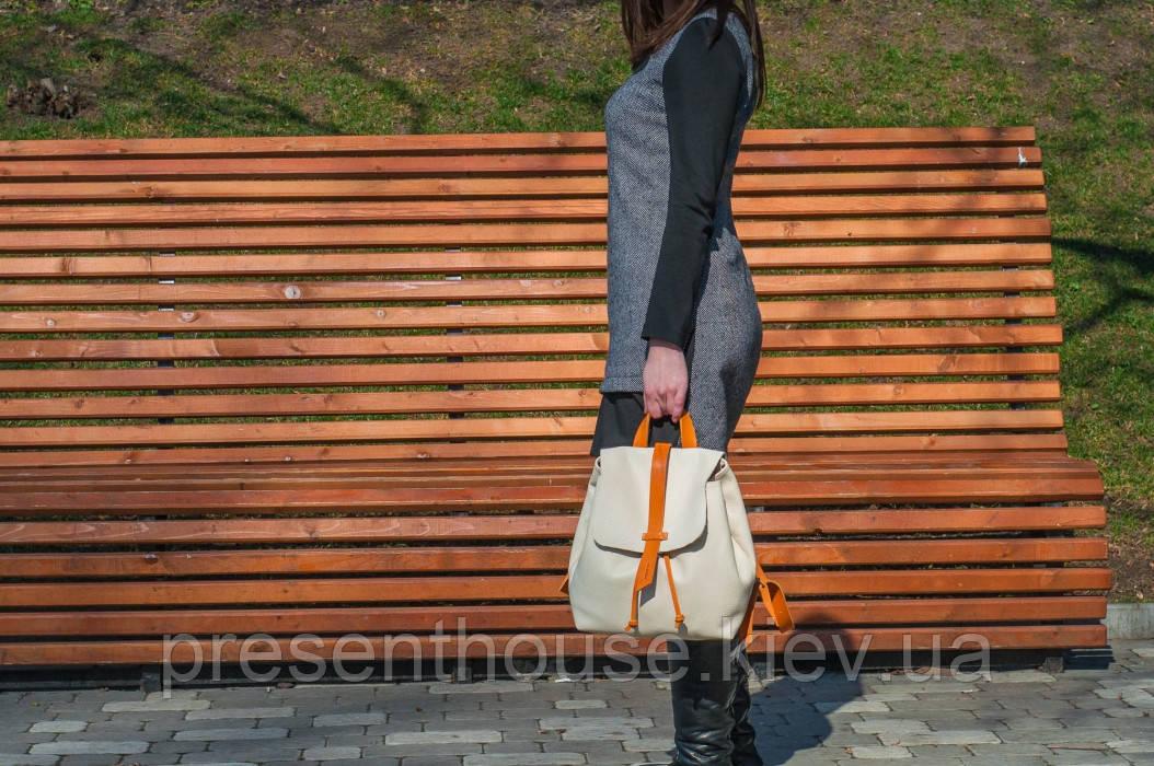 d2553c3ca4a5 Бежевы женский рюкзак «Глория» ручной работы - Интернет-магазин