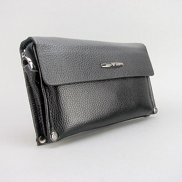 4ae0708faba7 Клатч мужской кожаный мягкий черный Armani (копия ) 3410-2 - интернет- магазин
