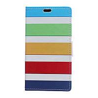 Чехол книжка для LG Magna H502F боковой с отсеком для визиток, Цветные полоски