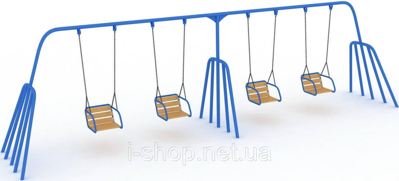 Детская качель Осьминог 4-х местная на гибкой подвеске KIDIGO КА 009