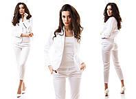 Женский костюм трикотаж мемори пиджак + брюки капри размеры 42 44 46