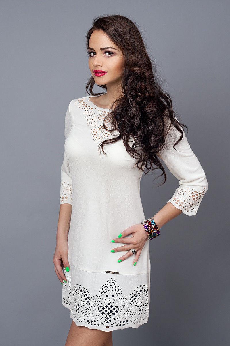 2228e6f4952 Купить Нарядное белое платье с перфорацией 274392212 - Грация   Стиль