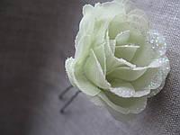 Шпильки заколки для волос цветок с глиттером  роза бледнооливковая    7,0 см.