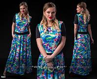 Платье больших размеров в пол цветочный принт