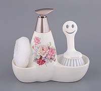 Набор для мыла с губкой и  щеткой Розы в Букете