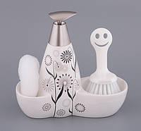 Набор для мыла с губкой и щеткой Васильки