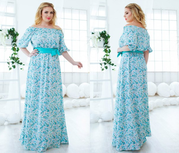 ef21446f3db Длинное летнее платье штапель в цветы Размеры  48-50 52-54 - Интернет
