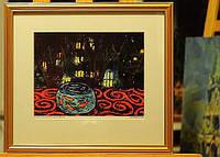 """Оформленный репринт картины Олеси Джураевой """"Золотые рыбки и окна, которые светятся"""""""