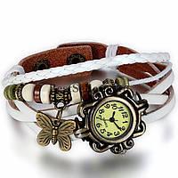 Женские наручные часы с длинным ремешком (бабочка)/белые