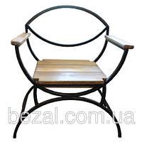 Стул садовый металлический с деревянными сиденьями и подлокотники из сосны или ольхи