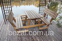 Стол с лавками деревянный