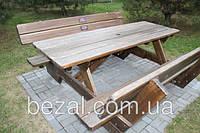Деревянный стол с лавками большой