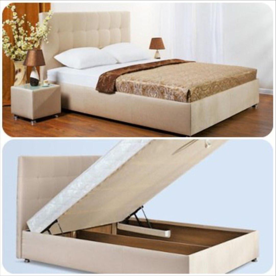 купить двуспальная кровать с подъемным механизмом и мягким