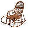 Кресло качалка лозовое плетенное с подставкой для ног  Ажур № 11