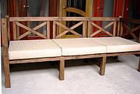 Скамья садовая со спинкой, деревянная мебель для дачи Эмине 2000мм 1600мм