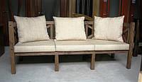 Скамья садовая со спинкой, деревянная мебель для дачи Эмине 2000мм 1200мм