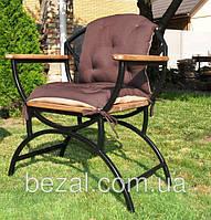 Стул садовый металлический с деревянными сиденьями и подлокотники из ЯСЕНЯ, фото 1