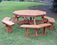Комплект садовой мебели из массива сосны Геометрия №3 (1,8м-2м)