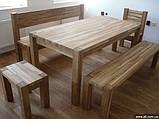 Скамья без спинки 2м. Мебель садовая из натурального дерева  Альфа, фото 3
