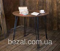 Стол Тандем круглый металлический с деревянной столешницей  ИЗ ОЛЬХИ