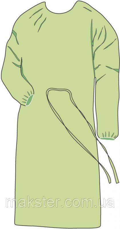 Одноразовый халат на завязках зеленого цвета