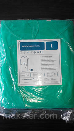 Одноразовый халат на завязках зеленого цвета, фото 2