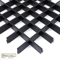 Потолок Грильято 60х60х40 черный  оцинкованный Open-cell