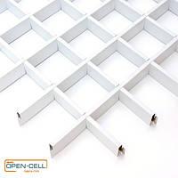 Потолок Грильято 100х100х40 белый  оцинкованный Open-cell