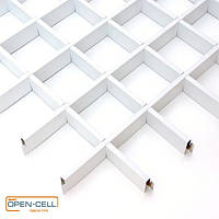 Потолок Грильято 100х100х50 белый  оцинкованный Open-cell