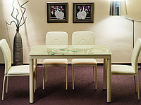 Стол обеденный стеклянный Damar Signal кремовый